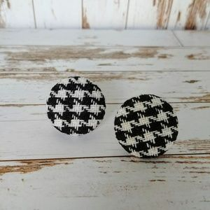 Hound's Tooth Button Earrings